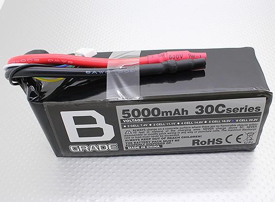 Bグレード5000mAに6S 30C Lipolyバッテリー