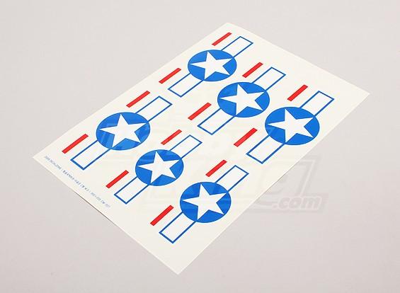 スケール国立空軍記章デカールシート -  USA(スター&バー)