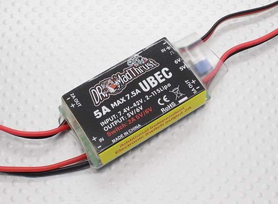 作り付けの補助と博士はマッドスラストシリーズ5A HV BECは、ACCSのオン/オフを切り替え制御します