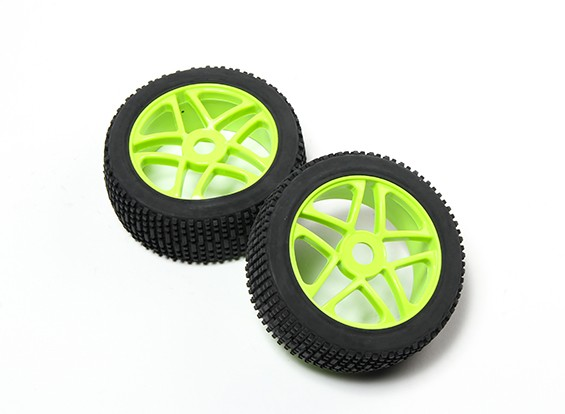 HobbyKing®1/8スター蛍光グリーンホイール&オフロードタイヤ17ミリメートル六角(2PC)