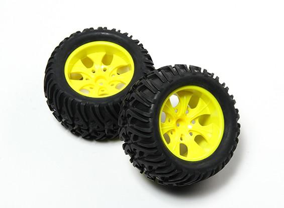 HobbyKing®1/10モンスタートラック7スポークイエローホイール&シェブロンパターンのタイヤ12ミリメートル六角(2PC)