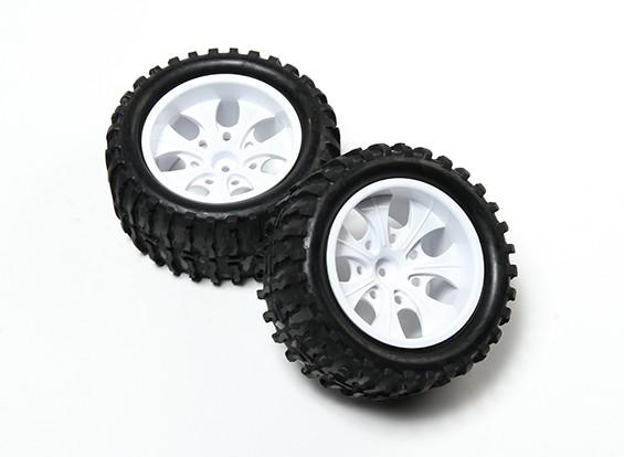HobbyKing®1/10モンスタートラック7スポークホワイトホイール&ウェーブパターンのタイヤ12ミリメートル六角(2PC)