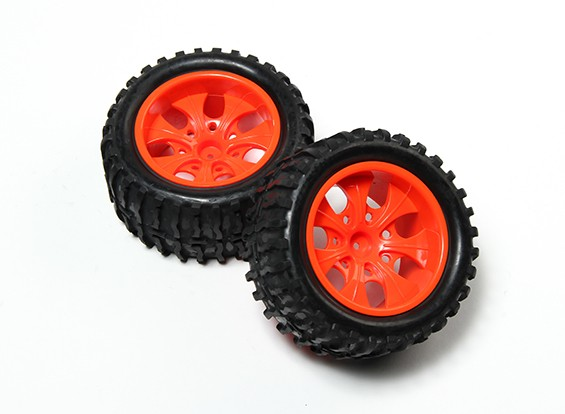 HobbyKing®1/10モンスタートラック7スポーク蛍光レッドホイール&ウェーブパターンのタイヤ12ミリメートル六角(2PC)