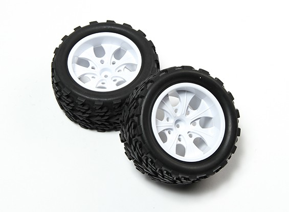 HobbyKing®1/10モンスタートラック7スポークホワイトホイール&ツリー柄のタイヤ12ミリメートル六角(2PC)