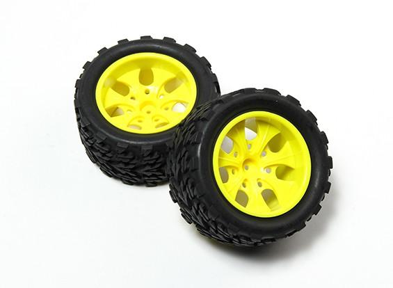 HobbyKing®1/10モンスタートラック7スポーク蛍光イエローホイール&ツリー柄タイヤ(2PC)