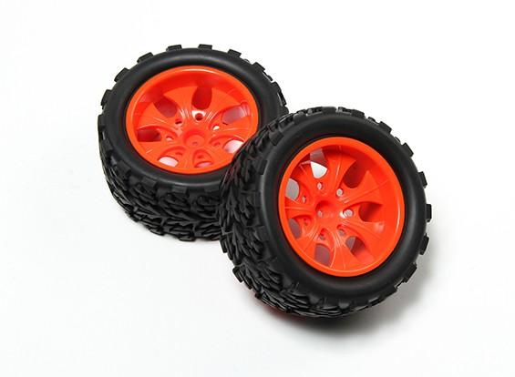 HobbyKing®1/10モンスタートラック7スポーク蛍光レッドホイール&ツリー柄のタイヤ12ミリメートル六角(2PC)