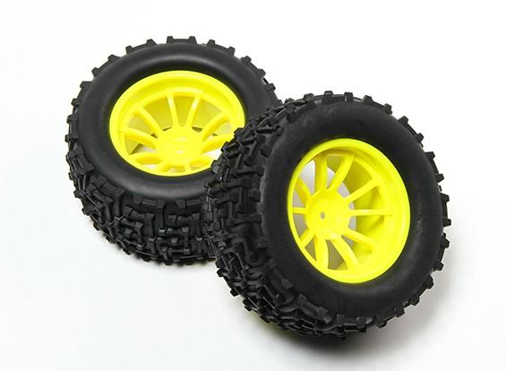 HobbyKing®1/10モンスタートラック10スポーク蛍光イエローホイール&I-パターンのタイヤ12ミリメートル六角(2PC)