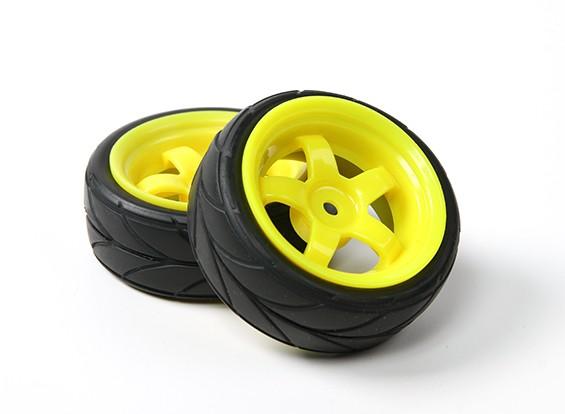 1/10ホイール/タイヤセットVTC 5スポーク(イエロー)RCカー26ミリメートル(2個)をHobbyKing