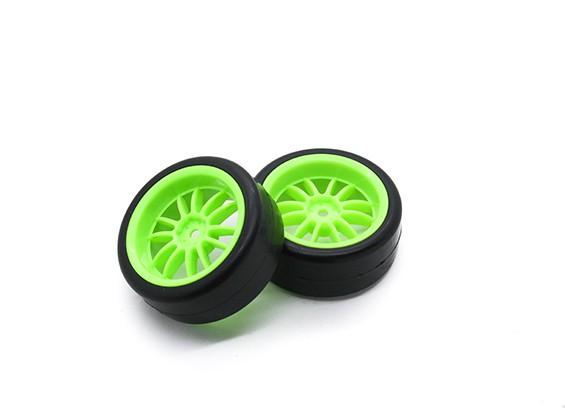 HobbyKing 1/10ホイール/タイヤセットマルチスポークスリックタイヤ(グリーン)リアRCカー26ミリメートル(2個)