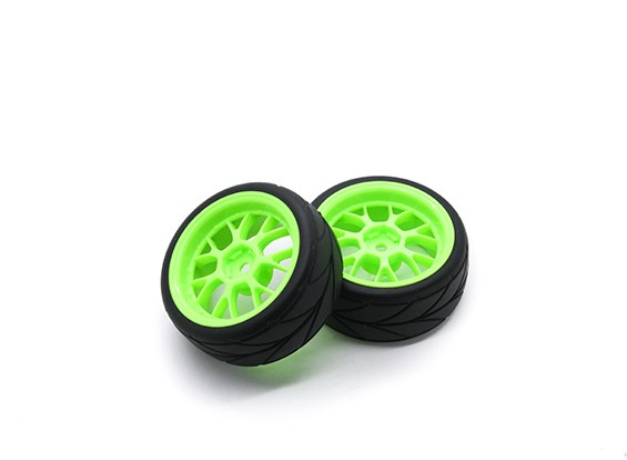 HobbyKing 1/10ホイール/タイヤセットAFラリー(グリーン)RCカー26ミリメートル(2個)をスポーク