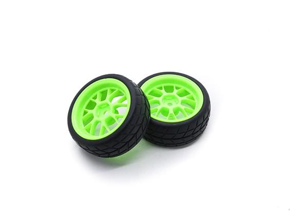 HobbyKing 1/10ホイール/タイヤセットVTC Yリア(グリーン)RCカー26ミリメートル(2個)をスポーク