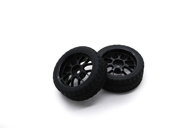 HobbyKing 1/10ホイール/タイヤセットAFラリーYスポーク(ブラック)RCカー26ミリメートル(2個)