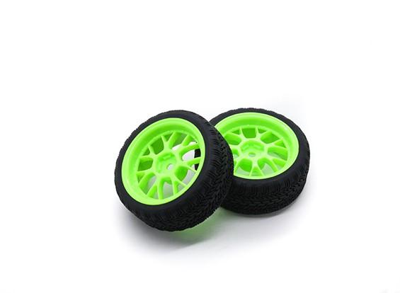 HobbyKing 1/10ホイール/タイヤセットAFラリーYスポーク(グリーン)RCカー26ミリメートル(2個)