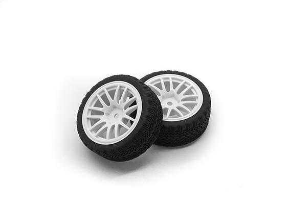 HobbyKing 1/10ホイール/タイヤセットAFラリーは(白)RCカー26ミリメートル(2個)をスポーク