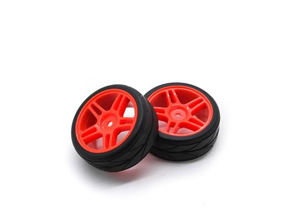 1/10ホイール/タイヤセットVTCスター(赤)RCカー26ミリメートル(2個)をスポークHobbyKing