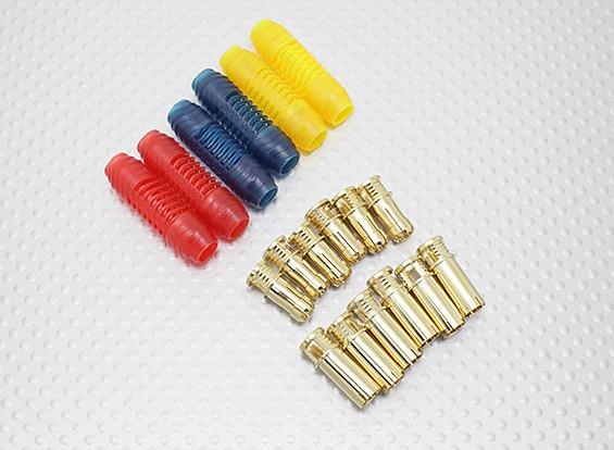 6ミリメートルRCPROPLUSスープラXゴールドブレット極性付きコネクタ(6組)