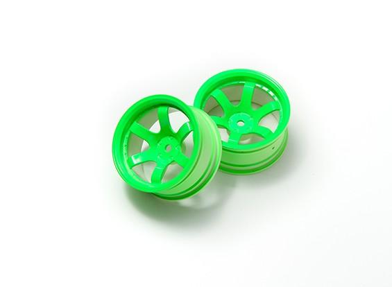 1:10ラリーホイール6スポークネオングリーン(9ミリメートルオフセット)