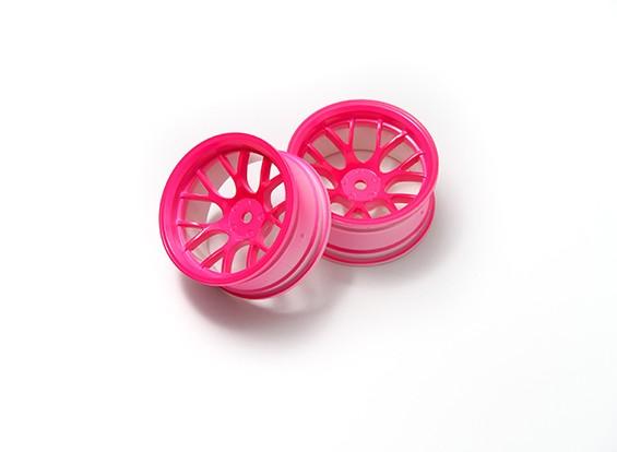 1時10ホイールセット 'Y' 7スポーク蛍光ピンク(9ミリメートルオフセット)