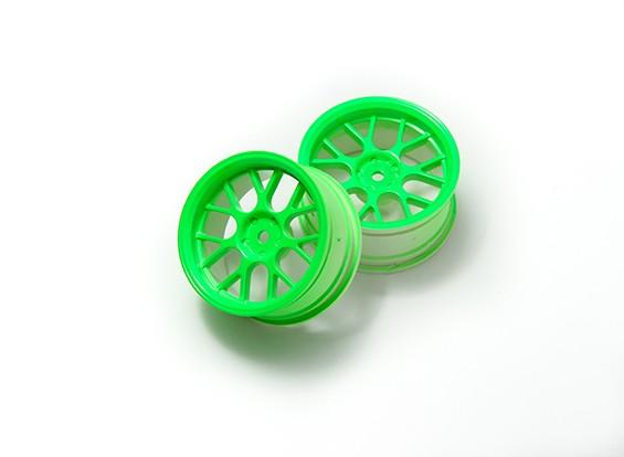 1時10ホイールセット 'Y' 7スポーク蛍光グリーン(3ミリメートルオフセット)