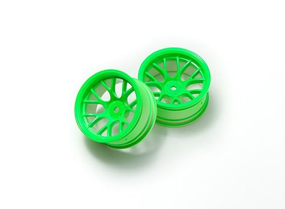 1時10ホイールセット 'Y' 7スポーク蛍光グリーン(9ミリメートルオフセット)