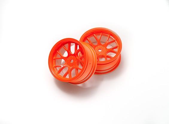 1時10ホイールセット 'Y' 7スポーク蛍光オレンジ(6ミリメートルオフセット)