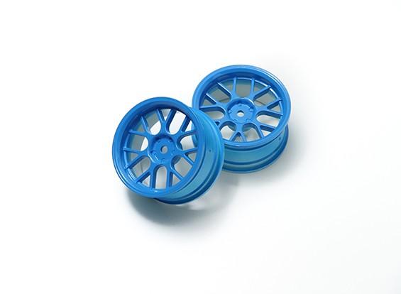 1時10ホイールセット 'Y' 7スポーク蛍光ブルー(3ミリメートルオフセット)