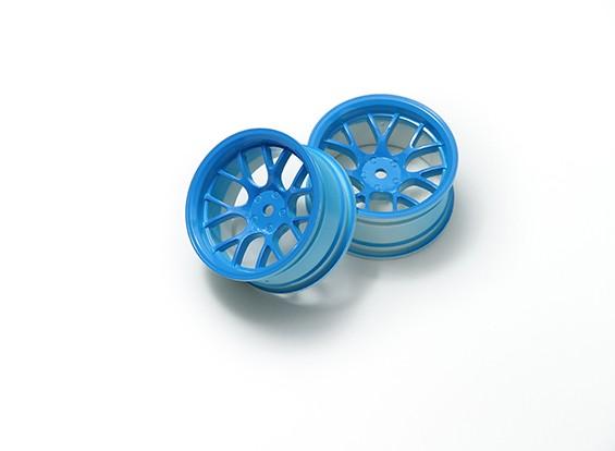1時10ホイールセット 'Y' 7スポーク蛍光ブルー(6ミリメートルオフセット)