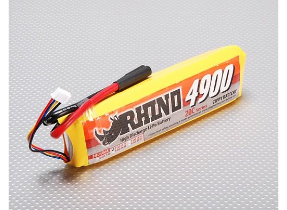 Rhinoの4900mAh 3S1P 11.1V 20C Lipolyパック