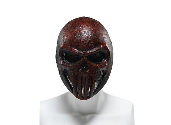 FMAワイヤーメッシュフルフェイスマスク(スカルPunisner、レッド)