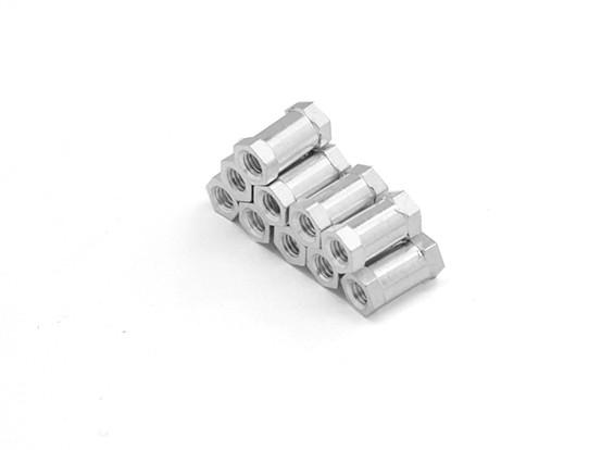 軽量アルミラウンド節スペーサーのM3 x 10mmの(10個入り/セット)