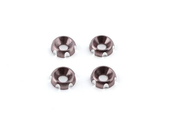 アルミ3ミリメートルCNC皿ワッシャ - シルバー(4本入り)