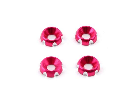 アルミ3ミリメートルCNC皿ワッシャ - ピンク(4個入)