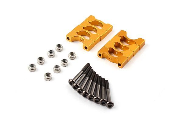 ゴールドスーパーライトアルマイトCNC合金チューブクランプ直径10mm(4本セット)