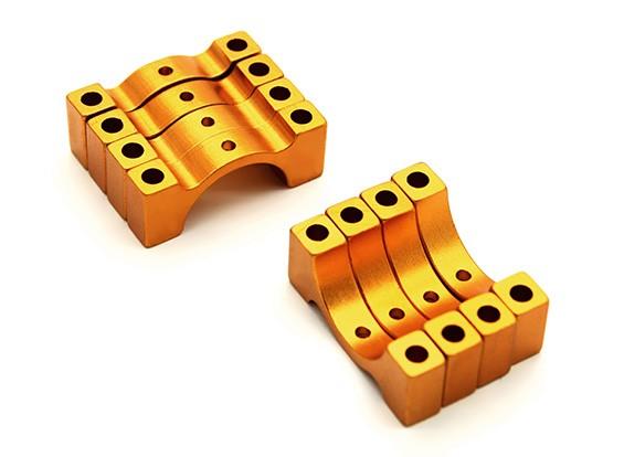 ゴールドアルマイトCNC半円合金管クランプ(税込。ナット&ボルト)14ミリメートル