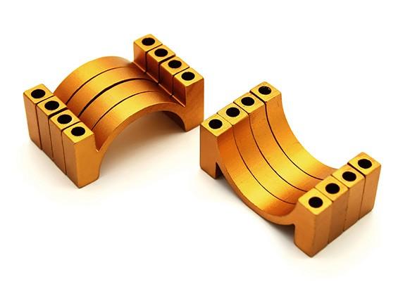 ゴールドアルマイトCNC半円合金管クランプ(税込。ナット&ボルト)20ミリメートル