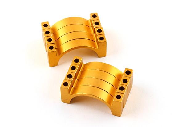 ゴールドアルマイトダブルCNCアルミチューブクランプ25ミリメートルの直径を両面