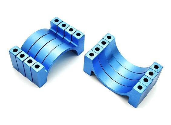 ブルーアルマイトCNC半円合金管クランプ(税込。ナット&ボルト)30ミリメートル