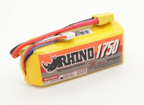Rhinoの1750mAh 4S 14.8V 20C Lipolyパック