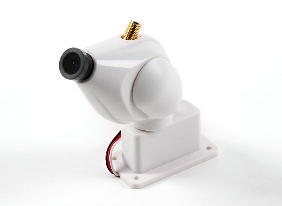 HD FPV 32CHの5.8GHz帯の送信機とパン&チルト機能付きカメラシステム(ホワイト)