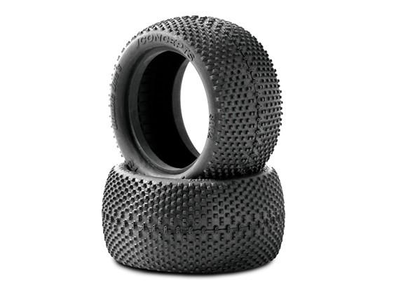 JCONCEPTSフリップアウト1/10バギーリアタイヤ - グリーン(スーパーソフト)化合物