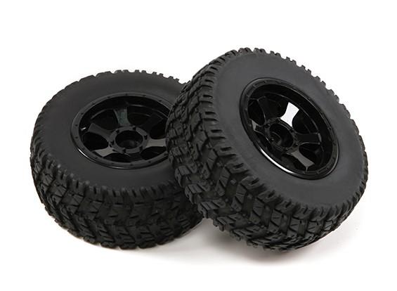 1/10スケール6スポーク黒ショートコーストラックのホイール&タイヤ(2PC)