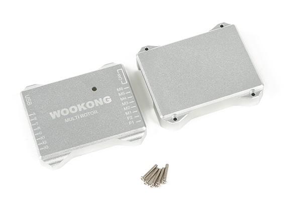 WookongフライトコントローラのCNCアルミ製保護ケース(シルバー)