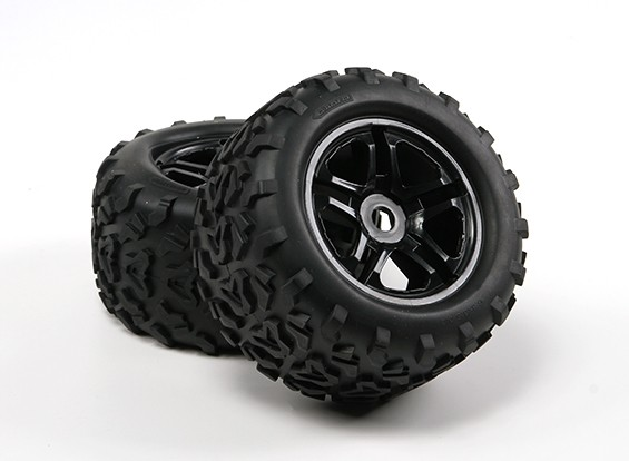 HobbyKing®1/8クローラ155ミリメートルホイール&タイヤ(ブラックリム)(2個)™