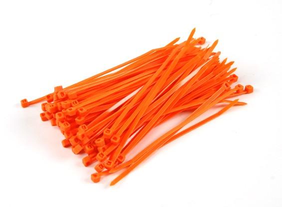 ケーブルタイ150ミリメートルx 4mmのオレンジ(100本)