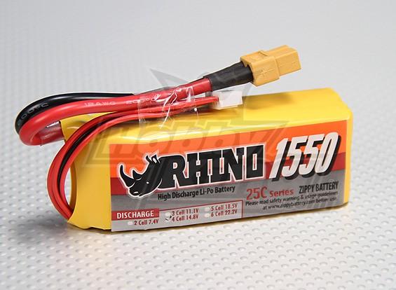 Rhinoの1550mAh 4S 14.8V 25C Lipolyパック