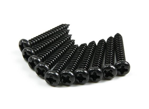 Screw Round Head Phillips M3x20mm Self Tapping Steel Black (10pcs)