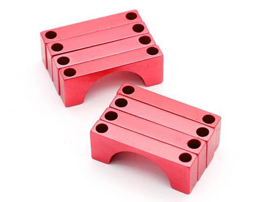 レッドアルマイトCNC半円合金管クランプ(incl.screws)25ミリメートル