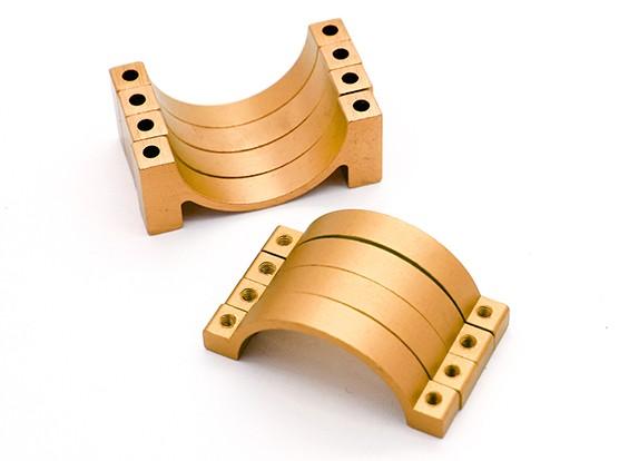 ゴールドアルマイトCNC半円合金管クランプ(incl.screws)30ミリメートル