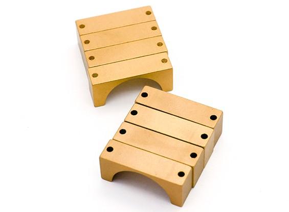 ゴールドアルマイトCNC半円合金管クランプ(incl.screws)25ミリメートル