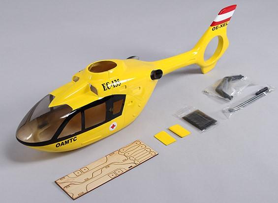 ヘリ450サイズのEC-135グラスファイバー胴体